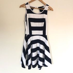 Navy & white striped Fit & Flare Dress